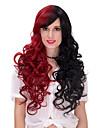 mode melange synthetique a longue perruque partie des femmes boucles rouge et noir