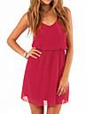 vestido rojo solido, correa atractiva sin mangas de las mujeres mini