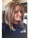 elegante couleur de melange longueur moyenne perruque synthetique resistant a la chaleur droite pour les femmes