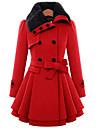 Mulheres Casaco Casual Fofo Inverno,Solido Vermelho / Marrom La / Algodao Colarinho de Camisa-Manga Longa Grossa