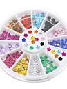 12 couleurs nail art cristal paillettes strass fleur manucure goujons de roue