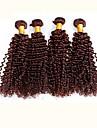 4st brasilianska kinky curl hårknippena väver chokladbrun 100% obearbetat brasiliansk weft
