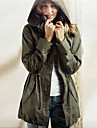 Women\'s Casual/Daily / Sports Active Trench Coat,Solid Long Sleeve Spring / Fall / Winter Green Cotton / Others Medium