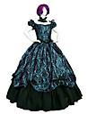 One-piece/Klänningar Gothic Lolita Steampunk® / Victoriansk Cosplay Lolita Klänning Svart / Grön Tryck Kort ärm Lång längd Klänning För