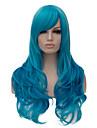 mode europeen chauds nouveaux bangs obliques long cheveux boucles.