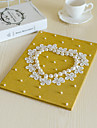 Shimmering Powder guest Book for Wedding with Lace Pearl Heart Decoration
