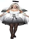 Costumes de Cosplay Costume de Soiree Ange et Diable Fete / Celebration Deguisement d\'Halloween Blanc Noir ImprimeJupe Manche Ailes