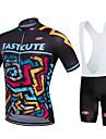 Fastcute Maillot et Cuissard a Bretelles de Cyclisme Homme Femme Enfant Unisexe Manches Courtes Velo Cuissard a bretelles Maillot Collant
