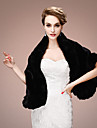 Women\'s Wrap Shawls Sleeveless Faux Fur Black / Red / Beige Wedding / Party/Evening Shawl Collar Tiered Open Front