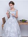 A-line off-the-umăr rochie de dantelă dantela domnisoara de onoare cu panglică / panglică