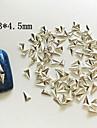 100pcs 3 * 4.5mm argent art alliage metallique triangle de la decoration des ongles