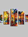 HANDMÅLAD Abstrakt / Landskap / Abstrakta landskap / Djur Fem paneler Kanvas Hang målad oljemålning For Hem-dekoration