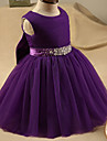A-line Short / Mini Flower Girl Dress - Tulle Sleeveless Jewel with Crystal Detailing