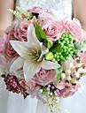 """Flori de Nuntă Rotund Trandafiri Crini Buchete Nuntă Petrecere / Seară Poliester Satin Flori Uscate 9.06""""(Approx.23cm)"""