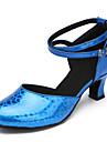 Chaussures de danse(Bleu / Rouge / Argent / Or) -Personnalisables-Talon Bottier-Cuir Verni-Latine / Moderne