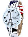 pentru Doamne Ceas La Modă Ceas de Mână Ceas Casual Quartz / Piele Bandă Turnul Eiffel Cool Casual Alb Albastru Maro RoseAlb Cafea