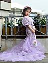 Printesa matura / perie tren floare fata rochie - tul mâneci scurte gât bijuterie