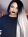 mode gradvis förändring lång rak syntetisk spets främre peruk limfria Twotone mörk svart / grå kvinnor peruker