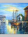 HANDMÅLAD Landskap Medelhavet / Parfymerad / Europeisk Stil / Moderna / Klassisk / Traditionellt / Realism,En panel KanvasHang målad