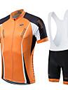 fastcute Maillot et Cuissard a Bretelles de Cyclisme Femme Homme Enfant Unisexe Manches courtes VeloCuissard a bretelles Maillot Collant