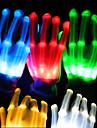 1pair eclairage LED gants brillent gants de squelette colores pour les decorations de fete danse jouets lumineux