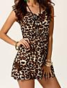 Weina kvinnors leopard causual mode fodralklänning