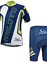 Miloto® Maillot et Cuissard de Cyclisme Homme Manches courtes VeloRespirable / Sechage rapide / Permeabilite a l\'humidite / Zipper YKK /