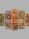 Peint a la main Abstrait Peintures a l\'huile,Mediterraneen Cinq Panneaux Toile Peinture a l\'huile Hang-peint For Decoration d\'interieur