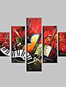 HANDMÅLAD Abstrakt Landskap fantasi Abstrakta landskap Alla Form,Moderna Fem paneler Kanvas Hang målad oljemålning For Hem-dekoration
