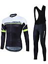 Fastcute® Maillot et Cuissard Long a Bretelles de Cyclisme Homme Manches longues VeloRespirable / Materiaux Legers / La peau 3 densites /