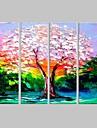 sträckt kanfas konst oljemålning stil färg träd uppsättning av 4