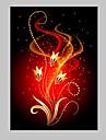 e-Home® sträckta ledda kanfastryck konst röda blommor flash effekt ledde blinkande optisk fiber print