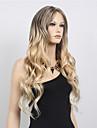partie libre onde longue perruque synthetique cosplay femmes cheveux / perruque midsplit perruques deux tons perruque blonde noir