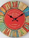 Moderne/Contemporain / Rustique / Decontracte Famille Horloge murale,Rond Bois 35*35*3 Interieur/Exterieur / Interieur / Exterieur Horloge