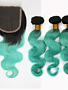 Trame cheveux avec fermeture Cheveux Bresiliens Ondulation naturelle 12 mois 3 Pieces tissages de cheveux
