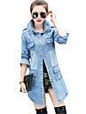Mulheres Jaquetas Jeans Happy-Hour / Casual Vintage / Moda de Rua Primavera / Outono,Solido Azul Poliester Colarinho de Camisa Manga Longa