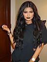 vague de la mode naturelle naturelle couleur noire brazilian vierge cheveux humains glueless perruque avant de lacet avec des cheveux de