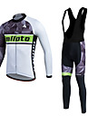 Miloto Maillot et Cuissard Long a Bretelles de Cyclisme Femme Homme Unisexe Manches longues VeloRespirable Garder au chaud Sechage rapide