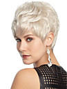 vit färg kort lockiga peruker Capless syntetiska peruker för kvinnor