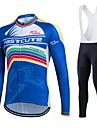 Fastcute® Maillot et Cuissard Long a Bretelles de Cyclisme Femme / Homme / Unisexe Manches longues VeloRespirable / Sechage rapide /
