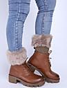Women\'s Winter Knitting Warm Flanging Imitation Fur Leg Warmers