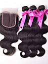 Hår Inslag med Stängning Brasilianskt hår Ret 4 delar hår väver
