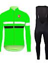 KEIYUEM® Maillot et Cuissard Long a Bretelles de Cyclisme Unisexe Manches longues VeloRespirable Garder au chaud Sechage rapide Resistant