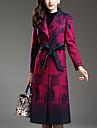 Dame Palton Ieșire Plus Size Șic Stradă,Imprimeu Manșon Lung Toamnă Iarnă Rever Clasic-Violet Gros Lână Poliester