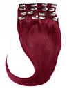 hårfärg #bug klipp i remyvirgin mänskliga hårförlängningar silkeslen rakt hår klipp 7pieces rakt brasilianskt hår