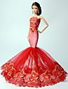 Prinsessa Klänningar För Barbie Doll Röd Spets Klänningar För Flicka doll Toy