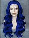 imstyle 24\'\'affordable de haute qualite bleu onde longue perruque synthetique avant de dentelle