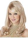 mode longs ondules couleur perruque blonde avec une frange synthetiques bouchons perruque pour les femmes