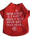 Chat / Chien T-shirt Rouge Vetements pour Chien Hiver / Printemps/Automne Motif de flocon de neige Noel / Nouvel An