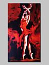 HANDMÅLAD Människor / Abstrakta porträtt olje,Moderna En panel Kanvas Hang målad oljemålning For Hem-dekoration